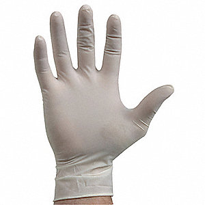 "11"" Powder Free Unlined Smooth Latex Disposable Gloves, Natural, Size  L, 100PK"
