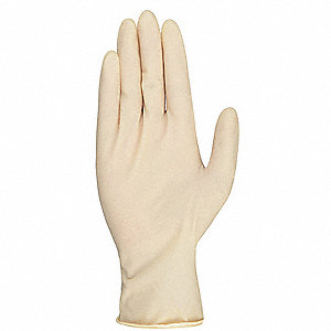 "9-1/2"" Powder Free Unlined Natural Rubber Latex Disposable Gloves, Natural, Size  XL, 100PK"