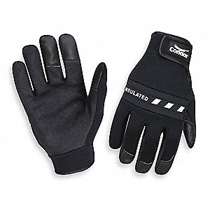 Cold Protection Gloves, Polyester Insulation Lining, Slip-On Cuff, Black, M, PR 1