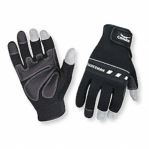 Abrasion Resistant Mechanics Gloves, Clarino/PVC Grip/Wear Panels Palm Material, Black, 2XL, PR 1