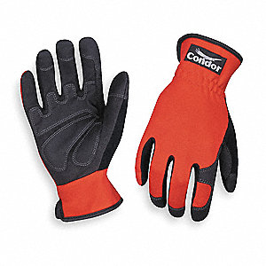 Abrasion Resistant Mechanics Gloves, Clarino/PVC Grip/Wear Panels Palm Material, Red/Black, 2XL, PR
