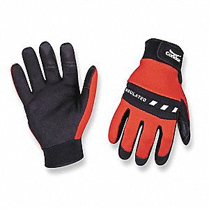 Cold Protection Gloves, Polyester Insulation Lining, Slip-On Cuff, Red/Black, S, PR 1