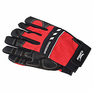 Mechanics Gloves,Full Fngr,Blk/Red,L,PR