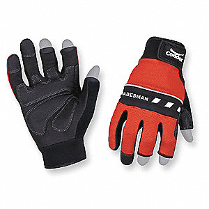 Abrasion Resistant Mechanics Gloves, Clarino/PVC Grip/Wear Panels Palm Material, Red/Black, XL, PR 1