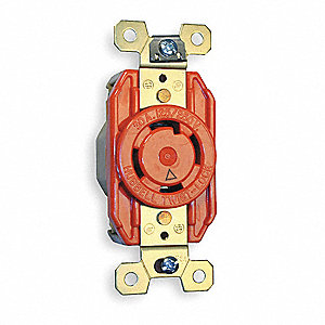 Orange Locking Receptacle, 30 Amps, 125/250VAC Voltage, NEMA Configuration: L14-30R