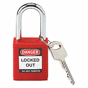 Red Lockout Padlock, Different Key Type, Thermoplastic Body Material, 1 EA