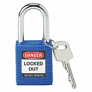 brady blue lockout padlock different key type thermoplastic body
