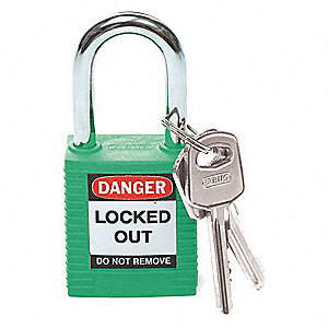 Green Lockout Padlock, Different Key Type, Thermoplastic Body Material