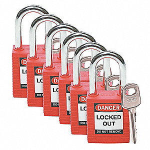 Red Lockout Padlock, Keyed Different Key Type, Master Keyed: No, Nylon Body Material