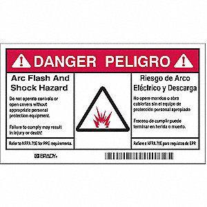 Arc Flash Protection Label,6 In. W,PK5