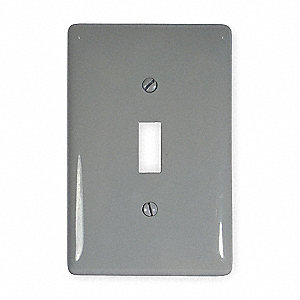 Toggle Switch Wall Plate, Gray, Number of Gangs: 1, Weather Resistant: No