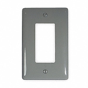 Rocker Wall Plate, Gray, Number of Gangs: 1, Weather Resistant: No