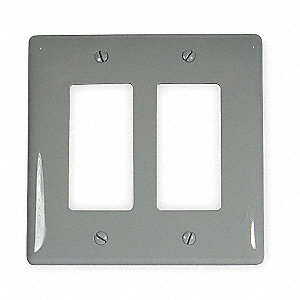 Rocker Wall Plate, Gray, Number of Gangs: 2, Weather Resistant: No