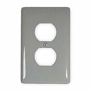 Duplex Wall Plate,1 Gang,Gray