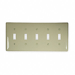 Toggle Switch Wall Plate, Ivory, Number of Gangs: 5, Weather Resistant: No