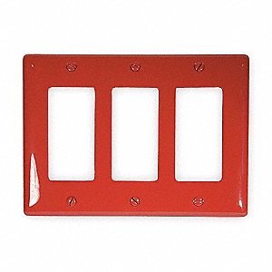 Rocker Wall Plate,  Red,  Number of Gangs 3,  Weather Resistant No