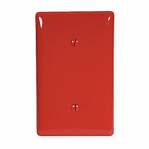 Blank Strap Mount Wall Plate, Red, Number of Gangs: 1, Weather Resistant: No