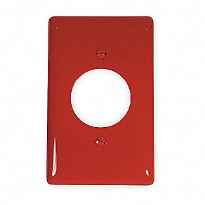 Single Receptacle Wall Plate, Red, Number of Gangs: 1, Weather Resistant: No