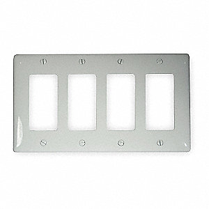 Rocker Wall Plate, White, Number of Gangs: 4, Weather Resistant: No