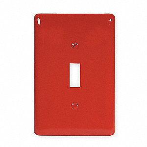 Toggle Switch Wall Plate,  Red,  Number of Gangs 1,  Weather Resistant No