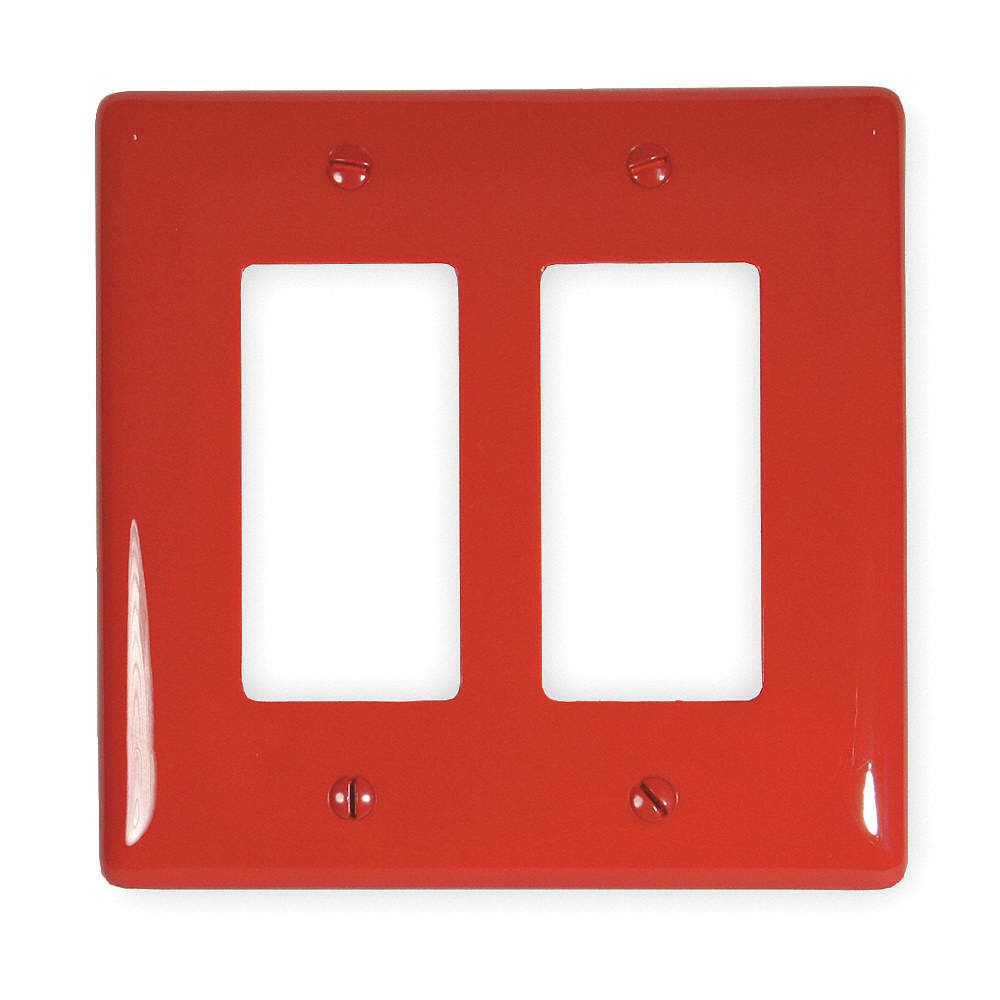 Hubbell Wiring Device-Kellems Np2r Toggle Switch Wall Plate Red 2 Gang Size