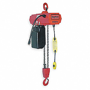 H2 Electric Chain Hoist, 1000 lb. Load Capacity, 115V, 10 ft. Lift, 16 fpm