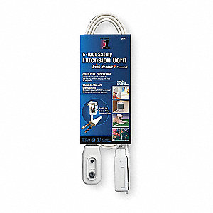 6 ft. Indoor LCDI Lighted Extension Cord; Max Amps: 13.0, Number of Outlets: 3, White