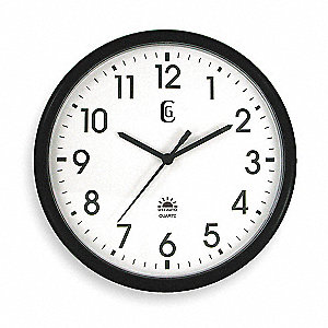 "13-1/2"" Round Arabic Wall Clock, Black Plastic Frame"