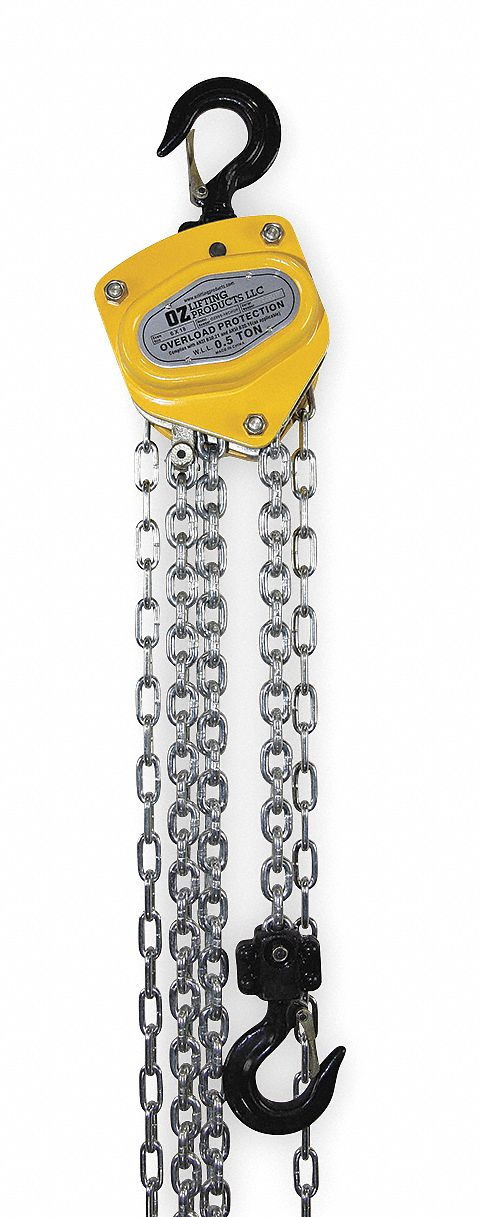 Manual Chain Hoist, 1,000 lb Load Capacity, 10 ft Hoist Lift, 15/16 in Hook Opening