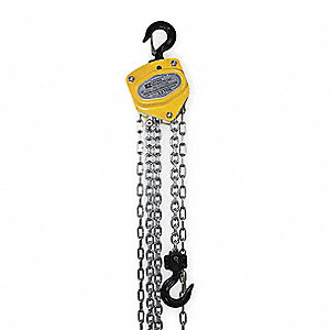 "Manual Chain Hoist, 1000 lb. Load Capacity, 20 ft. Lift, 15/16"" Hook Opening"