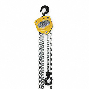 "Manual Chain Hoist, 2000 lb. Load Capacity, 20 ft. Lift, 15/16"" Hook Opening"