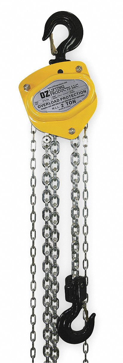 Manual Chain Hoist, 4,000 lb Load Capacity, 20 ft Hoist Lift, 1 3/8 in Hook Opening