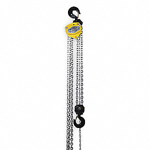 "Manual Chain Hoist, 10,000 lb. Load Capacity, 20 ft. Lift, 1-7/8"" Hook Opening"