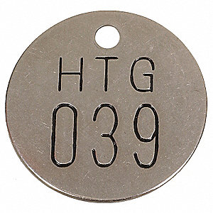 "Silver Numbered Tag, Stainless Steel, Round, 1-1/2"" Height, 25 PK"