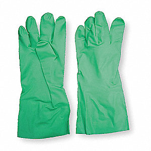 11.00 mil Nitrile Chemical Resistant Gloves, Green, Size 10, 1 PR