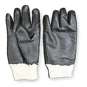 "Chemical Resistant Gloves, Size XL, 10-1/2""L, Black ,  1 PR"