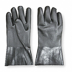 "Chemical Resistant Gloves, Size M, 12""L, Black ,  1 PR"