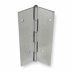 "Load-Rated Piano Hinge With Holes, 304 Stainless Steel, 1-11/16"" Width, 7 ft. Length"