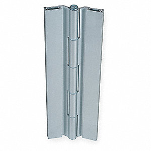 "180° Continuous Hinge Without Holes, Satin Aluminum, Door Leaf: 84"" x 1-5/8"" W"