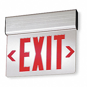 1 Face LED Exit Sign, Gray Aluminum Housing, Red Letter Color