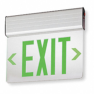 LED Exit Sign, Gray Housing Color, Aluminum Housing Material