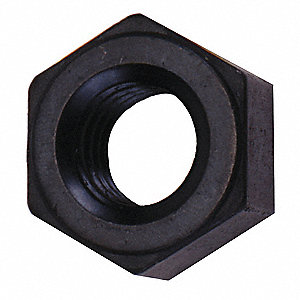 "1""-8 Hex Nut - Heavy, Black Oxide Finish, Grade 2H Alloy Steel, Right Hand, EA1"