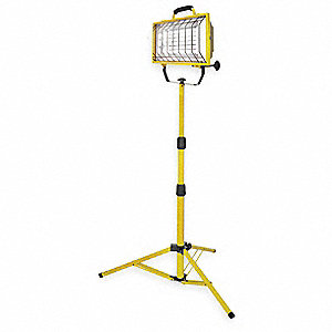 65W Fluorescent Floor Stand Temporary Job Site Light, Yellow, 4300 Lumens
