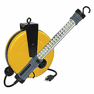 40 ft. Indoor General Purpose Extension Cord Reel with Hand Lamp, Yellow&#x3b; Handle: Straight