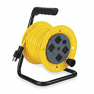 Lumapro Extension Cord Reel Hand Operated 120v Ac Quad Receptacle On Reel 40 Ft Yellow Reel Color 2ykr4 2ykr4 Grainger