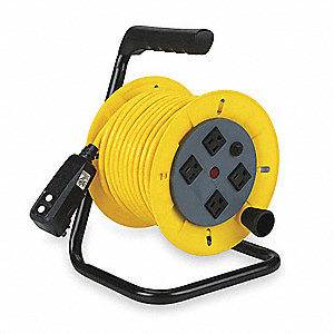 Yellow Hand Wind Cord Reel, 13 Max. Amps, Cord Ending: Quad Receptacle On Reel