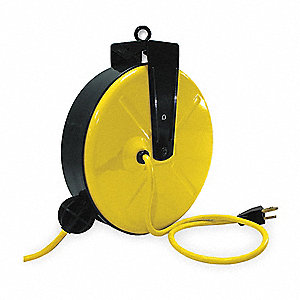 Yellow Retractable Cord Reel, 13 Max. Amps, Cord Ending: Single Connector, 30 ft. Cord Length