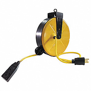 Cord Reel,Three Outlet,14/3,30Ft,Yellow