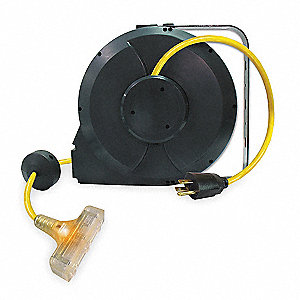 Black Retractable Cord Reel, 13 Max. Amps, Cord Ending: Triple Tap Connector, 40 ft. Cord Length