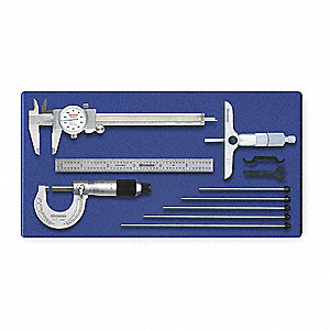 "Ratchet Thimble Precision Measuring Tool Kit, 0 to 1"" Micrometer Range (In./mm)"